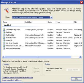 IE7 beta1 Screenshot 4 Manage Add-Ons