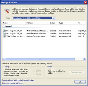 IE7 beta1 Screenshot 5 Manage Add-Ons